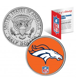 DENVER BRONCOS NFL JFK Kennedy Half Dollar US Colorized Coin - Officially Licensed