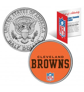 CLEVELAND BROWNS NFL JFK Kennedy Half Dollar US Colorized Coin - Officially Licensed