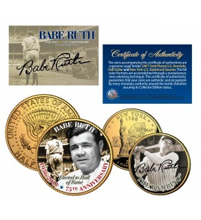 """BABE RUTH """"The Bambino"""" NY Quarter & JFK Half Dollar US 2-Coin Set 24K Gold Plated - Officially Licensed"""