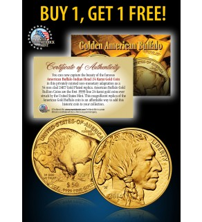 24K Gold Plated 2014 AMERICAN GOLD BUFFALO Indian Coin - BUY 1 GET 1 FREE - bogo