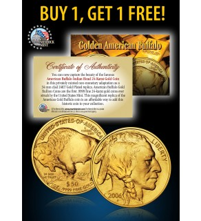 24K Gold Plated 2006 AMERICAN GOLD BUFFALO Indian Coin - BUY 1 GET 1 FREE - bogo