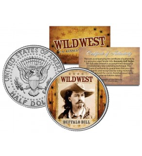 BUFFALO BILL - Wild West Series - JFK Kennedy Half Dollar U.S. Colorized Coin