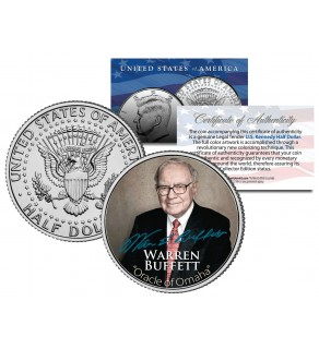 "WARREN BUFFETT "" Most Successful Investor of the 20th Century "" JFK Kennedy Half Dollar US Coin"