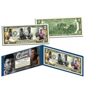 Muhammad Ali - CASSIUS CLAY - Colorized $2 Bill U.S. Legal Tender - Officially Licensed