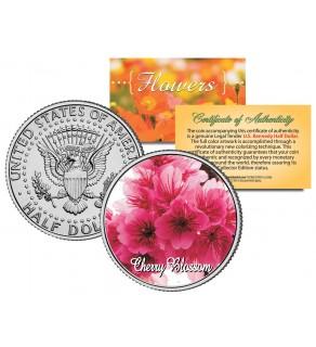 CHERRY BLOSSOM FLOWER JFK Kennedy Half Dollar U.S. Colorized Coin