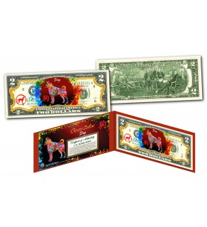 Chinese ZODIAC Genuine U.S. $2 Bill Red Polychrome Blast * YEAR of the DOG * NEW