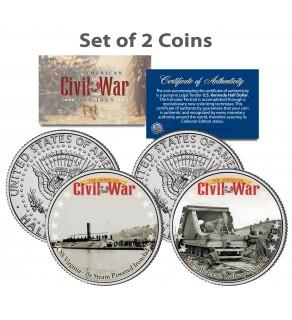 American Civil War - CSS VIRGINIA SHIP & CONFEDERATE RAILWAY - JFK Kennedy Half Dollar U.S. 2-Coin Set