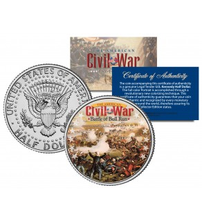 American Civil War - BATTLE OF BULL RUN - JFK Kennedy Half Dollar U.S. Colorized Coin