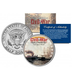 American Civil War - BATTLE OF MOBILE BAY - JFK Kennedy Half Dollar U.S. Colorized Coin