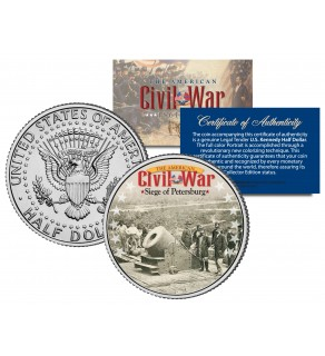 American Civil War - SIEGE OF PETERSBERG - JFK Kennedy Half Dollar U.S. Colorized Coin