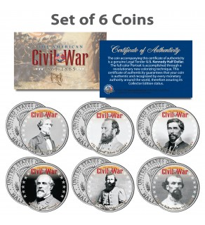 American CIVIL WAR - South CONFEDERATE LEADERS - JFK Kennedy Half Dollars U.S. 6-Coin Set