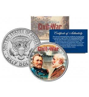 American Civil War - Generals ROBERT E. LEE & ULYSSES S. GRANT - JFK Kennedy Half Dollar U.S. Colorized Coin