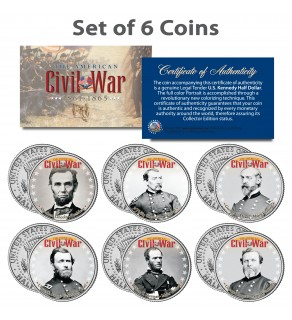 American CIVIL WAR - North UNION LEADERS - JFK Kennedy Half Dollars U.S. 6-Coin Set