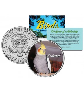 COCKATIEL Collectible Birds JFK Kennedy Half Dollar Colorized US Coin