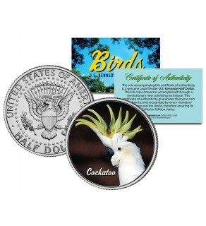 COCKATOO Collectible Birds JFK Kennedy Half Dollar Colorized US Coin