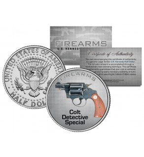 COLT DETECTIVE SPECIAL Gun Firearm JFK Kennedy Half Dollar US Colorized Coin