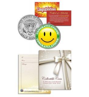 CONGRATULATIONS - ANY OCCASION - Gift Keepsake JFK Kennedy Half Dollar US Coin