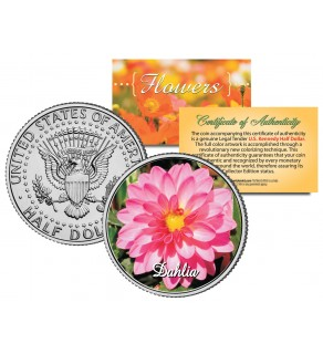 DAHLIA FLOWER JFK Kennedy Half Dollar U.S. Colorized Coin
