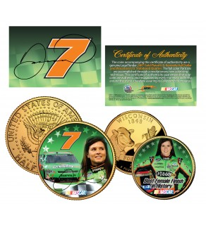 DANICA PATRICK Wisconsin Quarter & JFK Half Dollar US 2-Coin Set 24K Gold Plated NASCAR - Officially Licensed