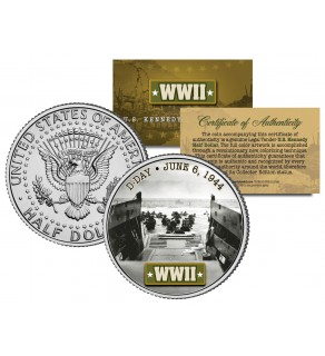 World War II - D-DAY INVASION 1944 - JFK Kennedy Half Dollar US Coin