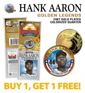 HANK AARON Golden Legends 24K Gold Plated State Quarter US Coin - BUY 1 GET 1 FREE - bogo