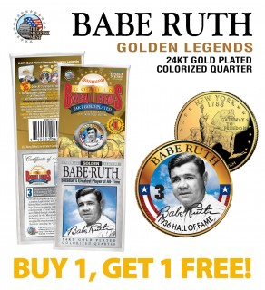 BABE RUTH Golden Legends 24K Gold Plated State Quarter US Coin - BUY 1 GET 1 FREE - bogo