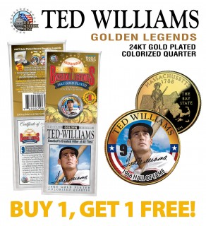 TED WILLIAMS Golden Legends 24K Gold Plated State Quarter US Coin - BUY 1 GET 1 FREE - bogo