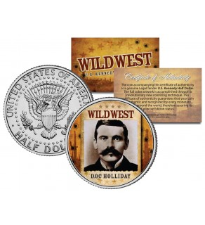 DOC HOLLIDAY - Wild West Series - JFK Kennedy Half Dollar U.S. Colorized Coin