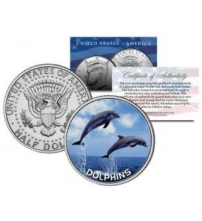 DOLPHINS JFK Kennedy Half Dollar US Colorized Coin
