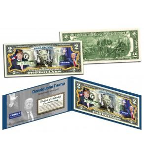DONALD J. TRUMP * Make America Great Again * Colorized Genuine Legal Tender U.S. $2 Bill