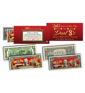 2019 YEAR OF THE PIG $1 & $2 Chinese New Year Lucky Money Set - DUAL 8's GOLD MATCHING PIG's in Premium RED LUNAR ENVELOPE – Limited & Numbered of 8,888 Sets Worldwide **SOLD OUT**
