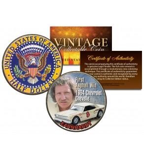 DALE EARNHARDT 1964 JFK Silver Half Dollar US Coin CHEVROLET CHEVELLE #8 First Asphalt Win - Officially Licensed