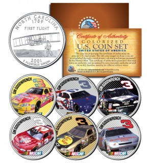 DALE EARNHARDT - GM Goodwrench #3 - NASCAR Race Cars North Carolina Quarters U.S. 6-Coin Set - Officially Licensed