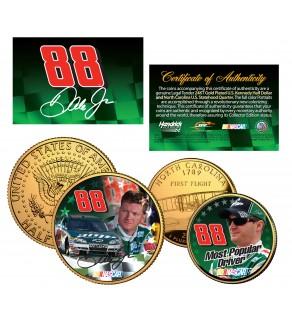 DALE EARNHARDT JR North Carolina Quarter & JFK Half Dollar 2-Coin Set 24K Gold Plated - Officially Licensed