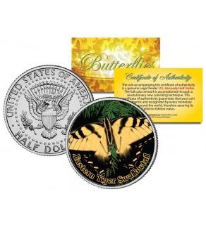 EASTERN TIGER SWALLOWTAIL BUTTERFLY JFK Kennedy Half Dollar U.S. Colorized Coin