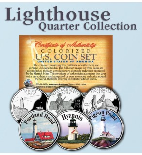 Historic American - LIGHTHOUSES - Colorized US Statehood Quarters 3-Coin Set #4 - Portland Head (ME) Hyannis (MA) Pigeon Point (CA)