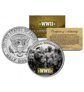 World War II - GENERAL EISENHOWER - JFK Kennedy Half Dollar US Coin