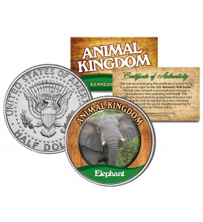 ELEPHANT - Animal Kingdom Series - JFK Kennedy Half Dollar U.S. Colorized Coin