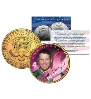 Breast Cancer Awareness BRETT FAVRE NFL JFK Kennedy Half Dollar US 24K Gold Plated US Coin