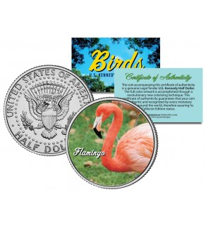 FLAMINGO Collectible Birds JFK Kennedy Half Dollar Colorized US Coin
