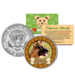 GERMAN SHEPHERD Dog JFK Kennedy Half Dollar U.S. Colorized Coin