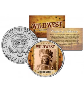 GERONIMO - Wild West Series - JFK Kennedy Half Dollar U.S. Colorized Coin