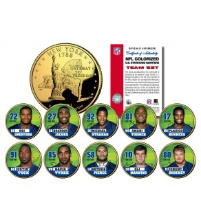 2007 NEW YORK GIANTS CHAMPIONS 24K Gold Plated NY Statehood Quarters US 10-Coin Team Set - Officially Licensed