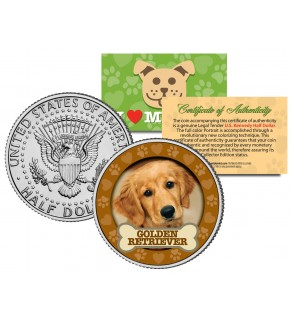 GOLDEN RETRIEVER Dog JFK Kennedy Half Dollar U.S. Colorized Coin
