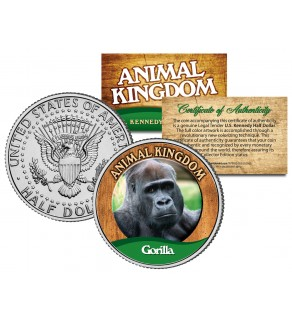 GORILLA - Animal Kingdom Series - JFK Kennedy Half Dollar U.S. Colorized Coin