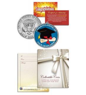 GRADUATION CONGRATULATIONS Gift Keepsake JFK Kennedy Half Dollar US Coin