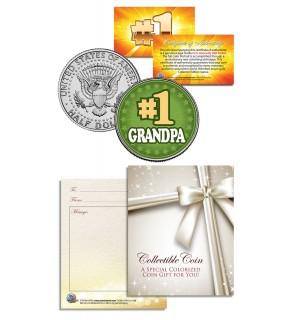 #1 GRANDPA - Grandparents' Day - JFK Kennedy Half Dollar US Coin