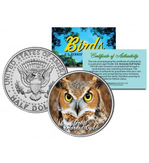 GREAT HORNED OWL Collectible Birds JFK Kennedy Half Dollar Colorized US Coin
