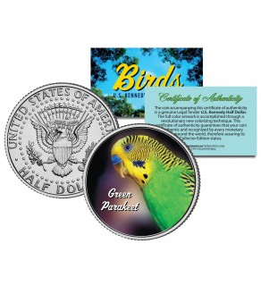 GREEN PARAKEET Collectible Birds JFK Kennedy Half Dollar Colorized US Coin