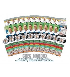 Lot of 10 GREG MADDUX Colorized Illinois Quarter Unopened Coin Packs - Officially Licensed